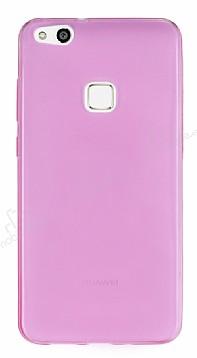Huawei P10 Lite Ultra İnce Şeffaf Pembe Silikon Kılıf
