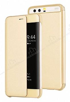 Huawei P10 Pencereli İnce Yan Kapaklı Gold Kılıf