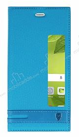Huawei P10 Plus Gizli Mıknatıslı Pencereli Mavi Deri Kılıf
