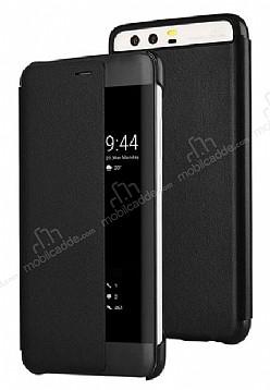 Huawei P10 Plus Pencereli İnce Yan Kapaklı Siyah Kılıf