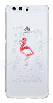 Huawei P10 Plus Taşlı Flamingo Şeffaf Silikon Kılıf