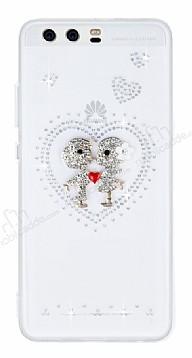 Huawei P10 Taşlı Love Şeffaf Silikon Kılıf