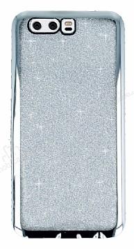 Huawei P10 Taşlı Kenarlı Simli Silver Silikon Kılıf