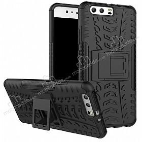 Huawei P10 Ultra Süper Koruma Standlı Siyah Kılıf