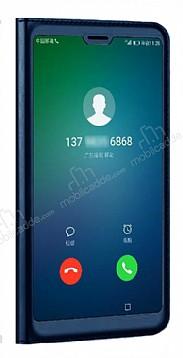 Huawei P20 Lite Dokunmatik Sensörlü Full Pencereli Lacivert Kılıf