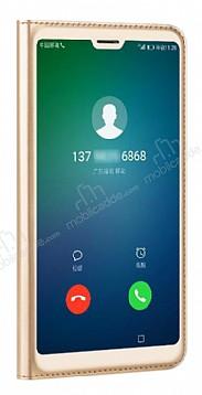 Huawei P20 Lite Dokunmatik Sensörlü Full Pencereli Gold Kılıf