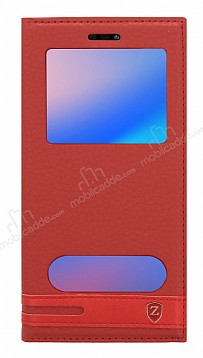 Huawei P20 Lite Gizli Mıknatıslı Pencereli Kırmızı Deri Kılıf