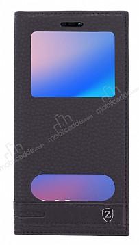 Huawei P20 Lite Gizli Mıknatıslı Pencereli Siyah Deri Kılıf