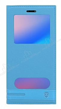 Huawei P20 Lite Gizli Mıknatıslı Pencereli Mavi Deri Kılıf