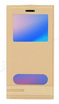 Huawei P20 Lite Gizli Mıknatıslı Pencereli Gold Deri Kılıf