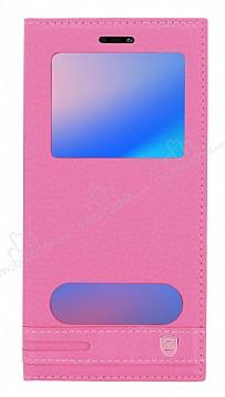 Huawei P20 Lite Gizli Mıknatıslı Pencereli Pembe Deri Kılıf