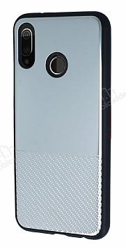 Huawei P20 Lite Silikon Kenarlı Aynalı Metal Silver Kılıf
