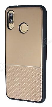 Huawei P20 Lite Silikon Kenarlı Aynalı Metal Gold Kılıf
