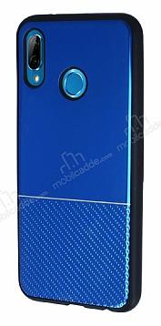 Huawei P20 Lite Silikon Kenarlı Aynalı Metal Lacivert Kılıf