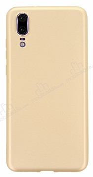 Huawei P20 Mat Gold Silikon Kılıf