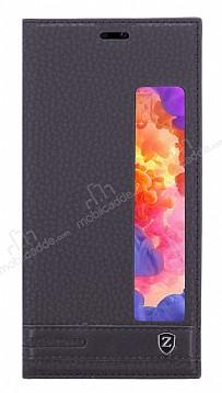 Huawei P20 Pro Gizli Mıknatıslı Pencereli Siyah Deri Kılıf