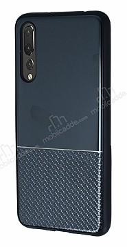 Huawei P20 Pro Silikon Kenarlı Aynalı Metal Siyah Kılıf