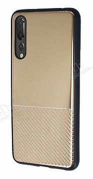 Huawei P20 Pro Silikon Kenarlı Aynalı Metal Gold Kılıf
