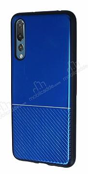 Huawei P20 Pro Silikon Kenarlı Aynalı Metal Lacivert Kılıf
