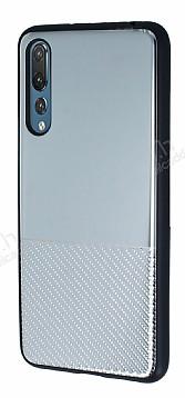 Huawei P20 Pro Silikon Kenarlı Aynalı Metal Silver Kılıf