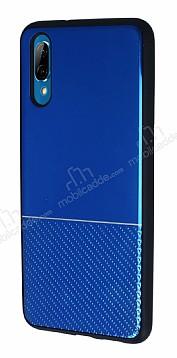 Huawei P20 Silikon Kenarlı Aynalı Metal Lacivert Kılıf