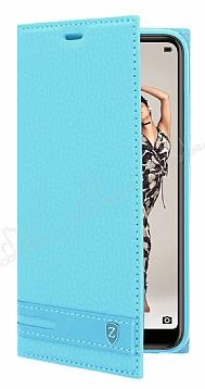 Huawei P20 Gizli Mıknatıslı Yan Kapaklı Mavi Deri Kılıf