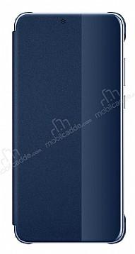 Huawei P20 Uyku Modlu İnce Yan Kapaklı Lacivert Kılıf