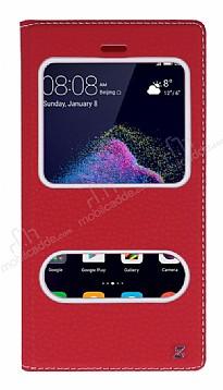 Huawei P9 Lite 2017 Gizli Mıknatıslı Çift Çerçeveli Kırmızı Deri Kılıf