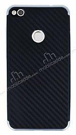 Eiroo Carbon Hybrid Huawei P9 Lite 2017 Silver Kenarlı Karbon Siyah Silikon Kılıf