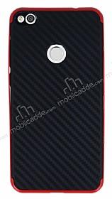 Eiroo Carbon Hybrid Huawei P9 Lite 2017 Kırmızı Kenarlı Karbon Siyah Silikon Kılıf