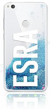 Huawei P9 Lite 2017 Kişiye Özel Simli Sulu Mavi Rubber Kılıf