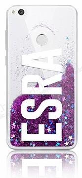 Huawei P9 Lite 2017 Kişiye Özel Simli Sulu Mor Rubber Kılıf