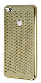 Huawei P9 Lite 2017 Noktalı Metalik Gold Silikon Kılıf