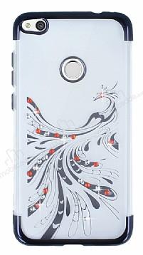 Huawei P9 Lite 2017 Siyah Peacock Taşlı Şeffaf Silikon Kılıf