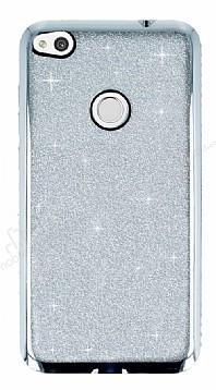 Huawei P9 Lite 2017 Taşlı Kenarlı Simli Silver Silikon Kılıf
