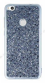 Huawei P9 Lite 2017 Simli Kumaş Silver Silikon Kılıf