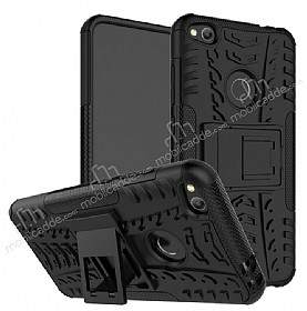Huawei P9 Lite 2017 Ultra Süper Koruma Standlı Siyah Kılıf