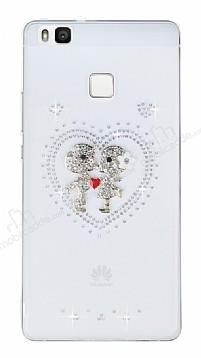 Huawei P9 Lite Taşlı Love Şeffaf Silikon Kılıf