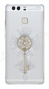 Huawei P9 Taşlı Anahtar Şeffaf Silikon Kılıf