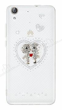 Huawei Y6 ii Taşlı Love Şeffaf Silikon Kılıf