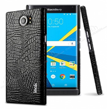 IMAK Blackberry Priv Siyah Deri Rubber Kılıf