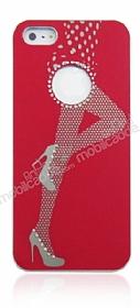 iPhone SE / 5 / 5S Lady G Sert Parlak Kırmızı Rubber Kılıf
