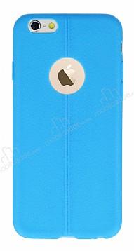 iPhone 6 / 6S Deri Desenli Ultra İnce Mavi Silikon Kılıf