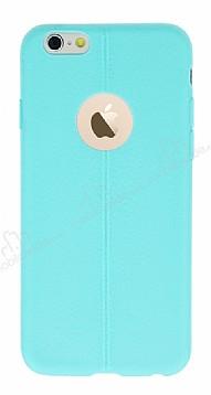 iPhone 6 / 6S Deri Desenli Ultra İnce Su Yeşili Silikon Kılıf
