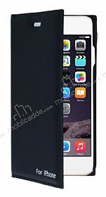 iPhone 6 / 6S Gizli Mıknatıslı Yan Kapaklı Siyah Deri Kılıf