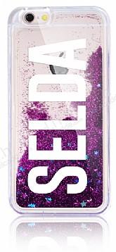 iPhone 6 / 6S Kişiye Özel Simli Sulu Mor Rubber Kılıf