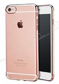 iPhone 6 / 6S Rose Gold Çerçeveli Şeffaf Silikon Kılıf