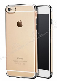 iPhone 6 / 6S Dark Silver Çerçeveli Şeffaf Silikon Kılıf