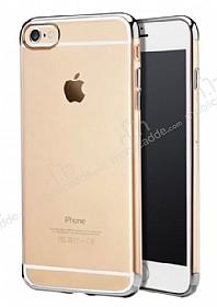 iPhone 6 / 6S Silver Çerçeveli Şeffaf Silikon Kılıf