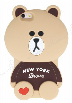 iPhone 6 Plus / 6S Plus Ayıcık Kahverengi Silikon Kılıf